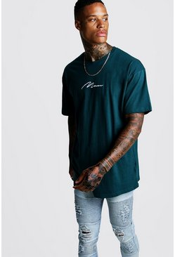 Mens Teal Oversized MAN Signature Embroidered T-Shirt