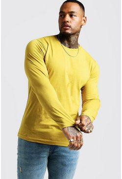 Mens Mustard Basic Long Sleeve Crew Neck T Shirt
