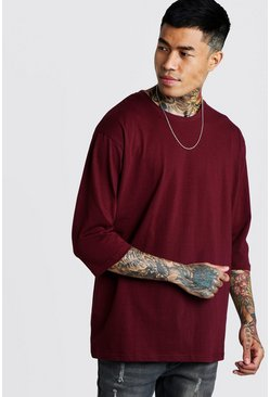 Mens Burgundy Loose Fit 3/4 Sleeve T-Shirt
