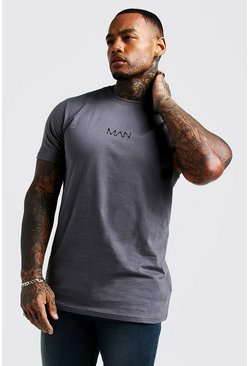 Camiseta larga original MAN, Gris marengo, Hombre