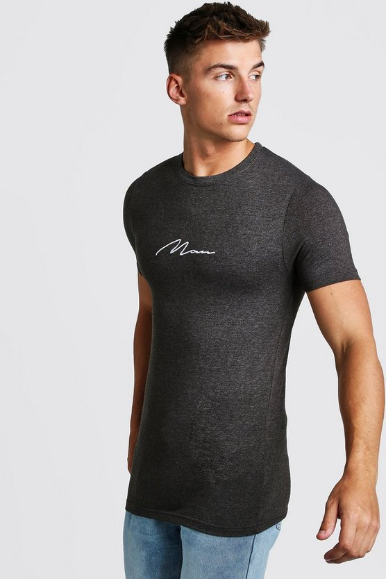 Charcoal Muscle Fit MAN Signature Embroidered T-Shirt