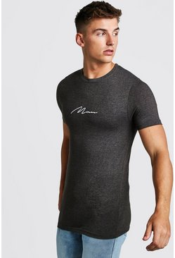 Mens Charcoal Muscle Fit MAN Signature Embroidered T-Shirt
