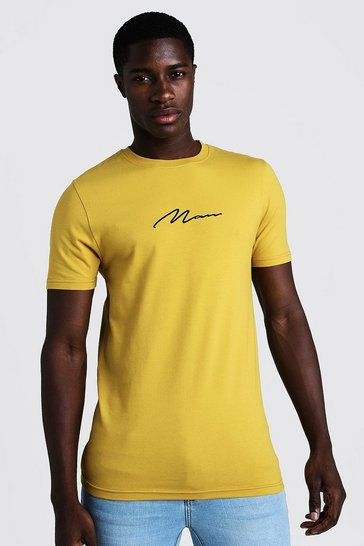 Mens Mustard Muscle Fit Man Signature Embroidered T-Shirt