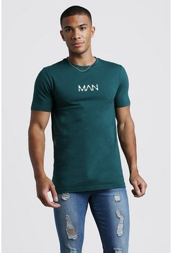 Mens Teal Original MAN T-Shirt In Muscle Fit