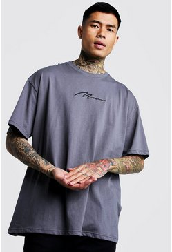 Mens Charcoal Oversized MAN Signature Embroidered T-Shirt