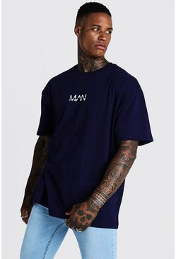 Mens Navy Oversized Original MAN Print T-Shirt