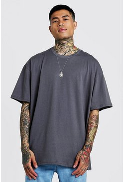 Mens Charcoal Oversized Crew Neck T-Shirt