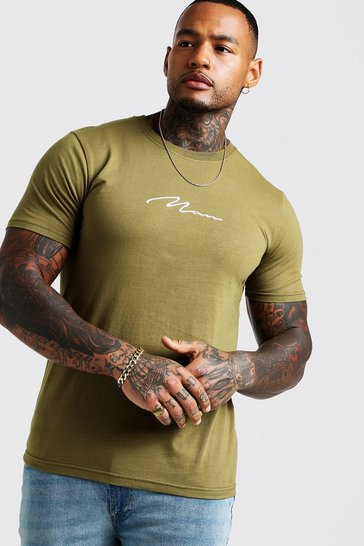 Mens Khaki MAN Signature Embroidered T-Shirt
