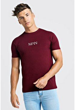 Mens Burgundy Original MAN Logo Print T-Shirt