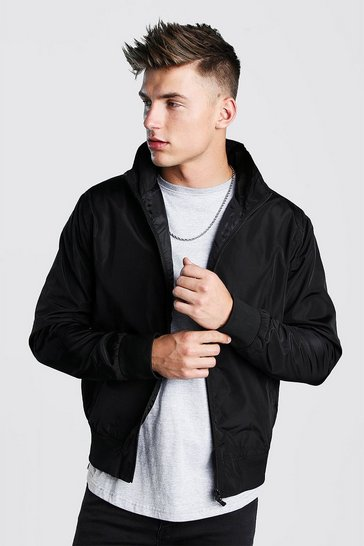 Mens Black Nylon Collared Bomber Jacket