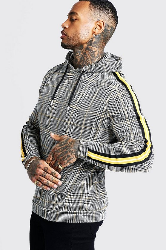 Mustard Houndstooth Check Over The Head Hoodie