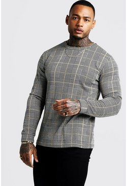 Mens Mustard Long Sleeve Houndstooth Check T-Shirt