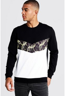 Herr Black Baroque Print Chevron Sweatshirt