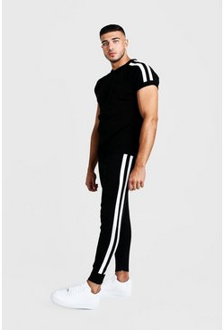 Mens Black Knitted T-Shirt & Jogger Set With Side Stripe