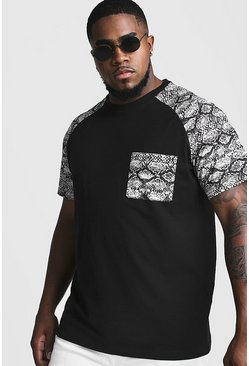 Herr Black Big & Tall T-Shirt With Snake Print