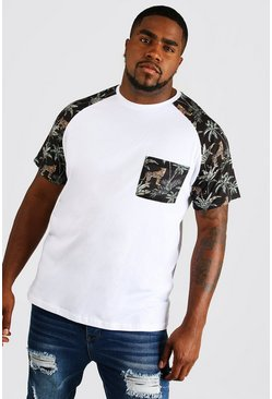 Camiseta con bolsillo tipo raglán Big & Tall, Blanco