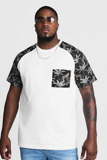 Mens Black Big & Tall T-Shirt With Raglan & Pocket Print