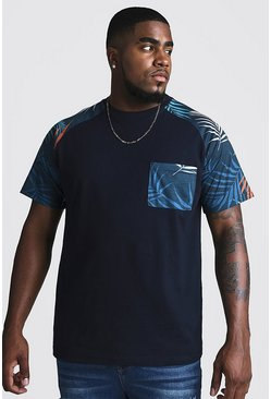 Mens Navy Big & Tall T-Shirt With Raglan & Pocket Print