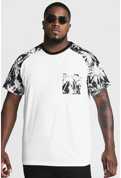 Mens White Big And Tall T-Shirt With Palm Print
