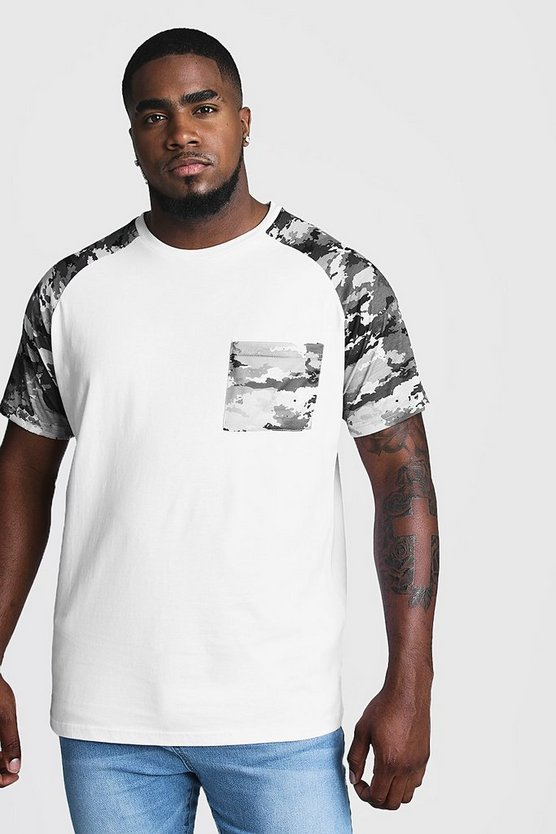 White Big And T-Shirt With Camo Print