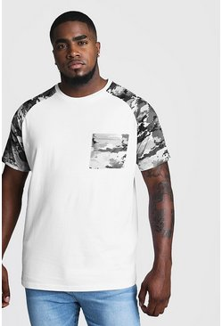 Mens White Big And T-Shirt With Camo Print