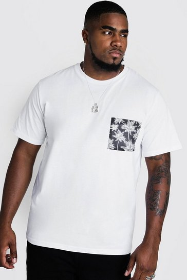 Mens White Big And Tall T-Shirt With Palm Pocket Print