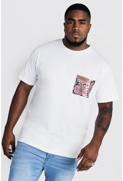 Mens White Big And Tall T-Shirt With Snake Pocket Print