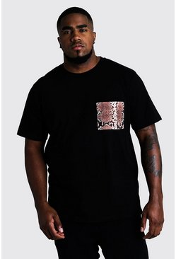 Mens Black Big And Tall T-Shirt With Snake Pocket Print