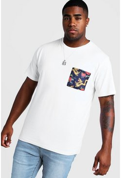 Mens White Big And Tall T-Shirt With Oriental Pocket Print