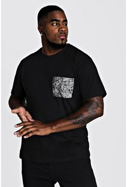 Mens Black Big & Tall T-Shirt With Digital Pocket Print