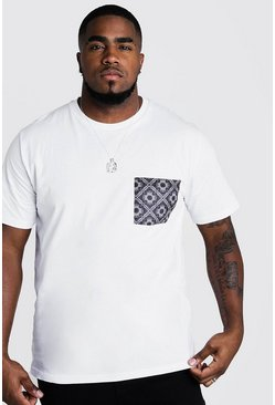 Mens White Big & Tall T-Shirt With Bandana Pocket Print