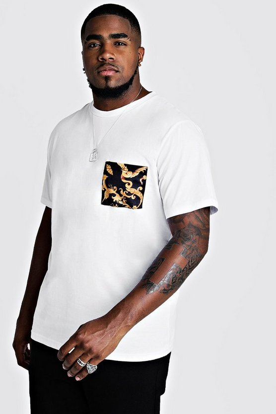Herr White Big & Tall T-Shirt With Chain Pocket Print