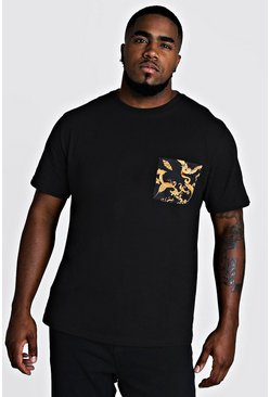 Mens Black Big & Tall T-Shirt With Chain Pocket Print
