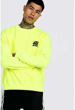 Neon M Puff Print Sweater, Neon-yellow, HOMBRE