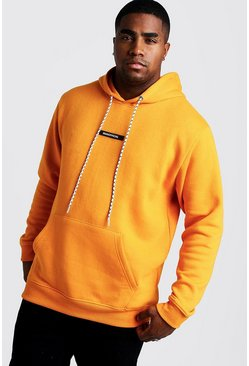 Herr Orange Big And Tall MAN Branded Tab Hoodie