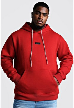 Herr Red Big And Tall MAN Branded Tab Hoodie