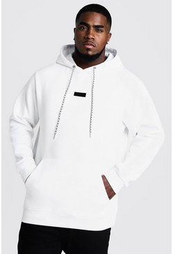 Herr White Big And Tall Branded Tab Hoodie