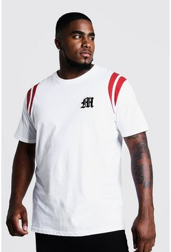 Herr White Big And Tall MAN Branded T-Shirt With Tape