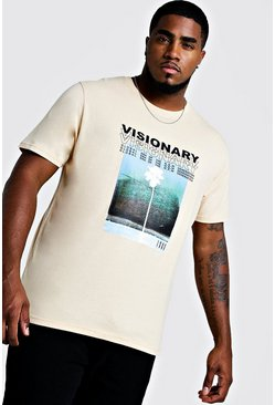 Mens Ecru Big And Tall Visionary Print T-Shirt