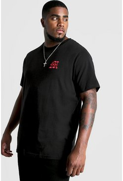 Herr Red Big And Tall Gothic M Embroidered T-Shirt