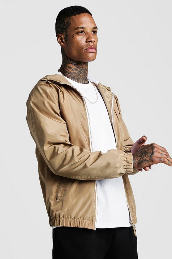 Taupe Hooded Zip Through Bomber