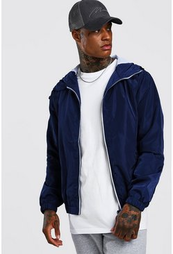 Mens Navy Hooded Zip Through Bomber
