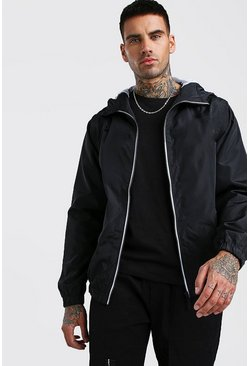Mens Black Hooded Zip Through Bomber