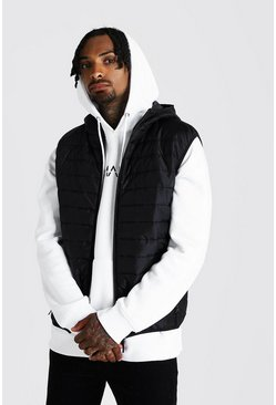 Mens Black Hooded Quilted Gilet