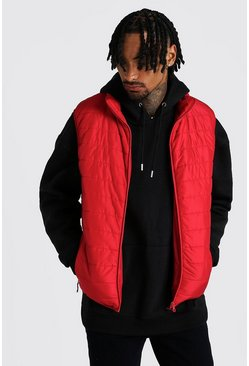 Mens Red Funnel Neck Padded Gilet