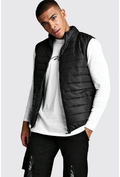 Mens Black Funnel Neck Padded Gilet