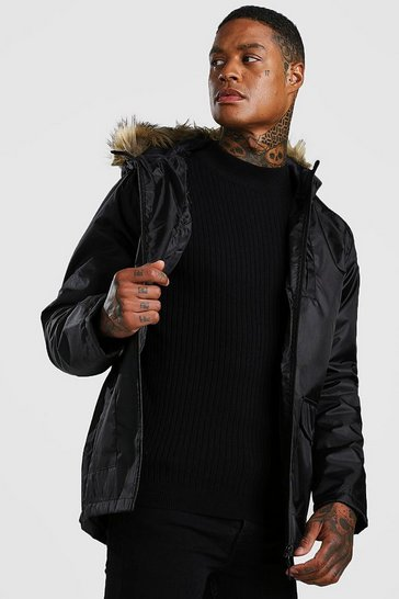 Mens Black Faux Fur Hooded Parka