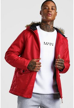 Red Faux Fur Hooded Parka