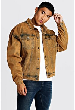 Drop Shoulder Oversized Denim Jacket In Acid  Wash, Orange, Uomo