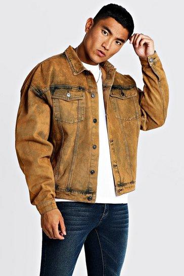 Drop Shoulder Oversized Denim Jacket In Acid Wash
